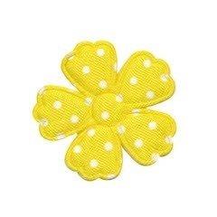 Applicatie bloem klaverblaadje geel met witte stippen satijn middel 35 mm (ca. 100 stuks)