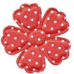Applicatie bloem klaverblaadje rood met witte stippen satijn groot 45 mm (ca. 100 stuks)