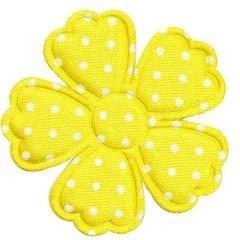 Applicatie bloem klaverblaadje geel met witte stippen satijn groot 45 mm (ca. 100 stuks)