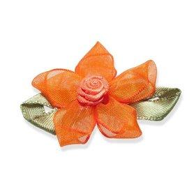 Roosje satijn oranje op oranje organza bloem 50 mm (10 stuks)