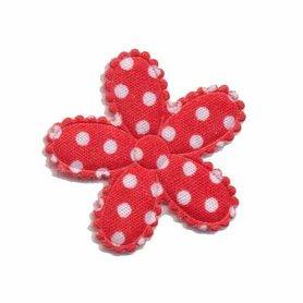 Applicatie bloem rood met witte stippen katoen middel 30 mm (ca. 100 stuks)