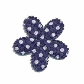 Applicatie bloem donker blauw met witte stippen katoen middel 30 mm (ca. 100 stuks)