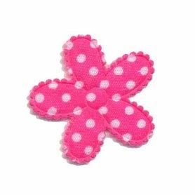 Applicatie bloem knal roze met witte stippen katoen middel 30 mm (ca. 100 stuks)