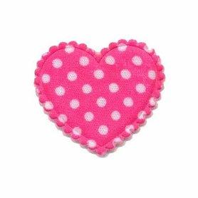 Applicatie hart knalroze met witte stippen katoen middel 35 x 30 mm (ca. 100 stuks)