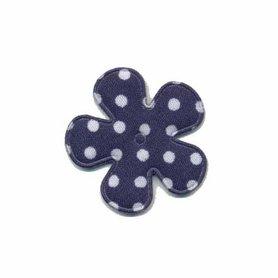Applicatie bloem donker blauw met witte stippen katoen klein 25 mm (ca. 100 stuks)
