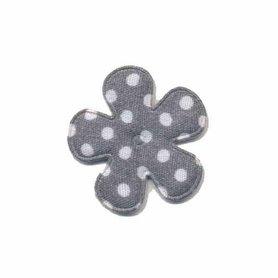 Applicatie bloem grijs met witte stippen katoen klein 25 mm (ca. 100 stuks)