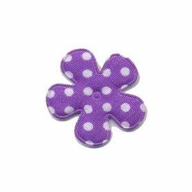 Applicatie bloem paars met witte stippen katoen klein 25 mm (ca. 100 stuks)