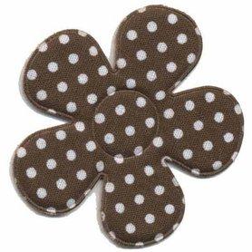 Applicatie bloem bruin met witte stippen katoen groot 45 mm (ca. 100 stuks)