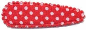 Haarkniphoesje rood met witte stip / polkadot 5 cm (ca. 100 stuks)