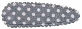 Haarkniphoesje grijs met witte stip / polkadot 5 cm (ca. 100 stuks)
