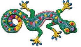 Opstrijkbare applicatie gecko multi color (5 stuks)