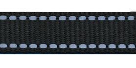 Tassenband 20 mm zwart met reflectie STEVIG (25 m)