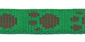 Tassenband 20 mm pootje grasgroen/bordeaux (ca. 5 m)