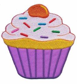 Opstrijkbare applicatie cupcake paars-wit (5 stuks)