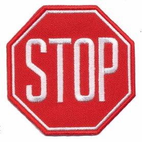 Opstrijkbare applicatie stopbord rood wit (5 stuks)