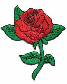 Opstrijkbare applicatie roos rood (5 stuks)