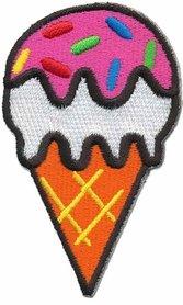 Opstrijkbare applicatie ijsje op hoorntje (5 stuks)