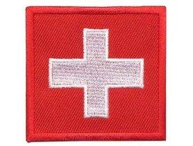 Opstrijkbare applicatie Zwitserse vlag (5 stuks)