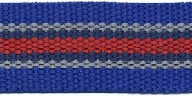 Tassenband 30 mm streep kobalt blauw/grijs/donker blauw/rood STEVIG (ca. 5 m)