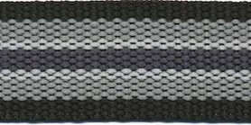 Tassenband 30 mm streep zwart/licht grijs/wit/antraciet STEVIG (ca. 5 m)