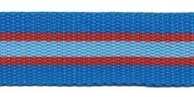 Tassenband 25 mm streep blauw/rood/licht blauw STEVIG (ca. 5 m)