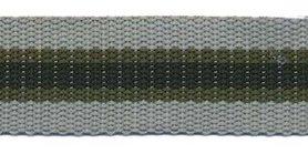 Tassenband 25 mm streep grijs/legergroen/zwart STEVIG (ca. 5 m)