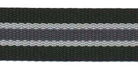 Tassenband 25 mm streep zwart/licht grijs/antraciet STEVIG (ca. 5 m)