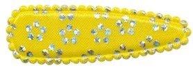 Haarkniphoesje satijn geel met zilveren bloemetje 5 cm (ca. 100 stuks)