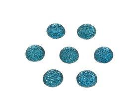 Flatback glitter rond blauw 15 x 3 mm (ca. 10 stuks)
