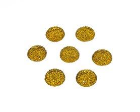 Flatback glitter rond geel 15 x 3 mm (ca. 10 stuks)