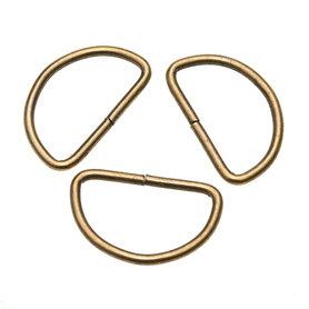 Metalen D-ring bronskleurig 38 mm (ca. 25 stuks)
