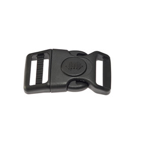 Adjustable curved safety side release buckle black plastic with black (round) center-lock 25 mm (10, 50, 100, ... pieces)