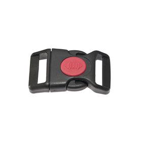 Gebogen klikgesp zwart kunststof met rode (ronde) veiligheidssluiting 25 mm (10, 50, 100, ... stuks)