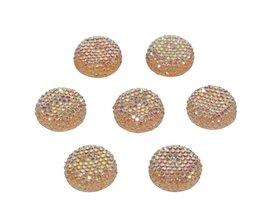 Flatback glitter rond zalm/oranje 19 x 4 mm (ca. 10 stuks)