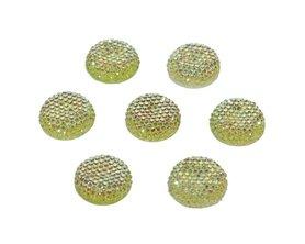 Flatback glitter rond groen 19 x 4 mm (ca. 10 stuks)