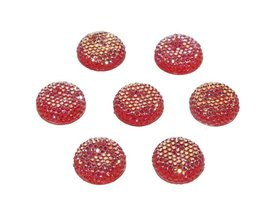Flatback glitter rond rood 19 x 4 mm (ca. 10 stuks)