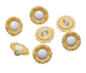 Bloemknoopje geel met wit hart 15 mm (ca. 50 stuks)