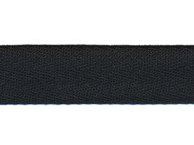 Zwart KATOENEN keperband 20 mm (ca. 50 m)