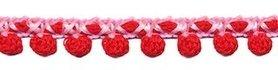 2-kleurig bolletjesband roze-rood 10 mm (ca. 16 meter)