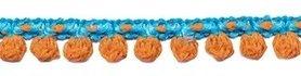 2-kleurig bolletjesband aqua-oranje 10 mm (ca. 16 meter)