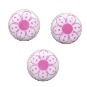 Flatback wit met roze bloem 25 mm (ca. 10 stuks)