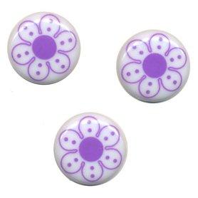 Flatback wit met lila bloem 25 mm (ca. 10 stuks)