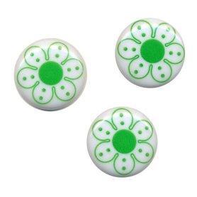 Flatback wit met groene bloem 25 mm (ca. 10 stuks)