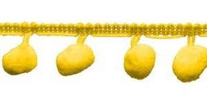 Pompom band geel 20 mm (ca. 16 meter)