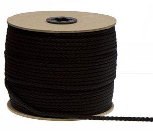 Katoenen koord zwart 7 mm (ca. 50 m)