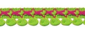 2-kleurig lusjesband limegroen-fuchsia 15 mm (ca. 16 meter)