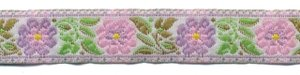 Roze-lila-groen bloemband 12 mm (ca. 22 m)