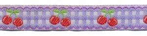 Lila-wit geruit band met rode kersjes 12 mm (ca. 22 m)