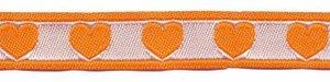 Oranje-wit hartjesband 12 mm (ca. 22 m)