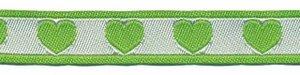 Groen-wit hartjesband 12 mm (ca. 22 m)
